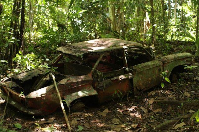 Carro en medio de la selva