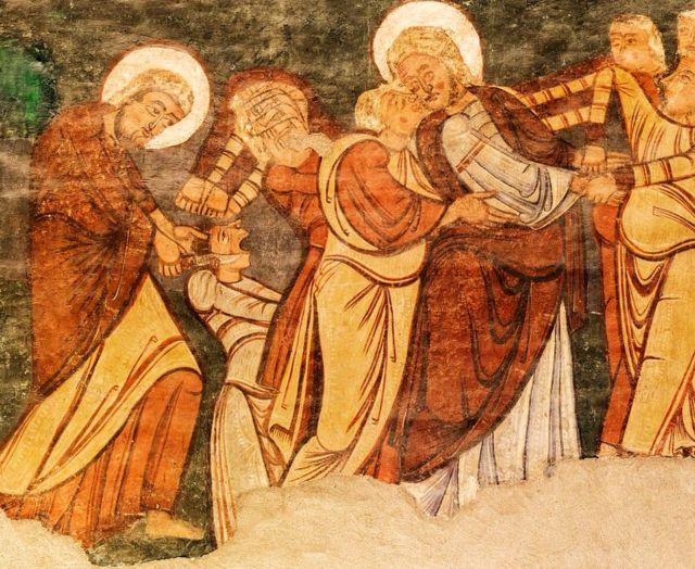 """""""La traición en el jardín de Getsemaní: Judas besa a Jesús y Pedro corta la oreja de Malchus""""."""
