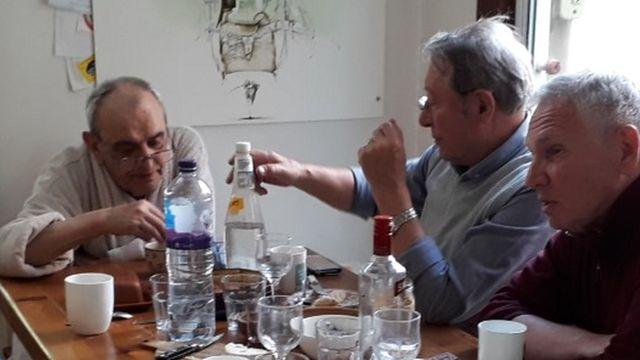 На фото слева направо: Ефим Славинский, Эдди Очаговия, Сэм Йоссман