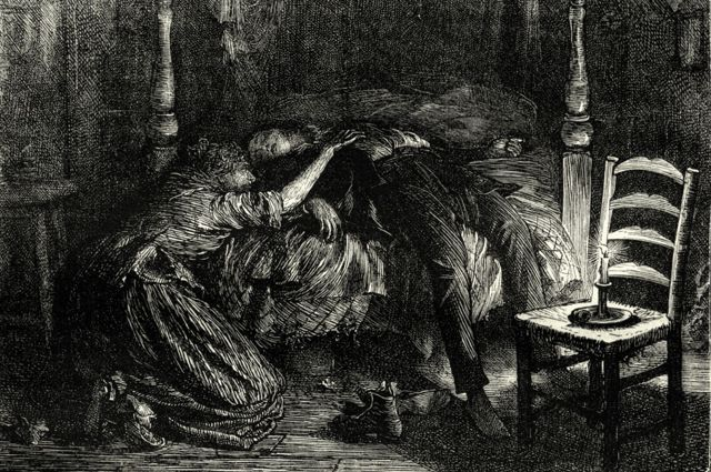 """Dibujo de una escena de la novela """"El misterio de Edwin Drood"""", de Dickens."""