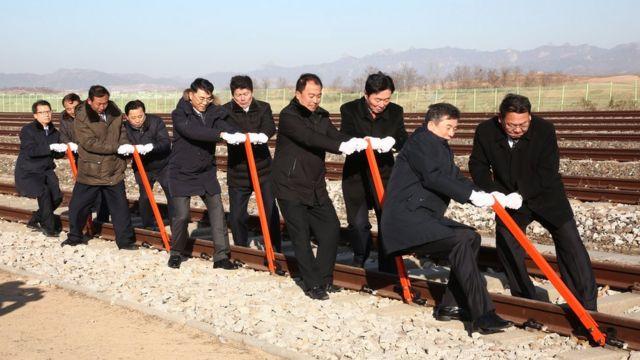 Церемония соединения железных дорог двух Корей, декабрь 2018 года