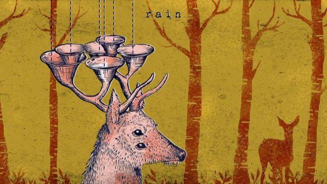 Ilustração de cervo com chifres que coletam chuva