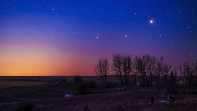 Soldan sağa, Satürn, Mars ve Jüpiter.