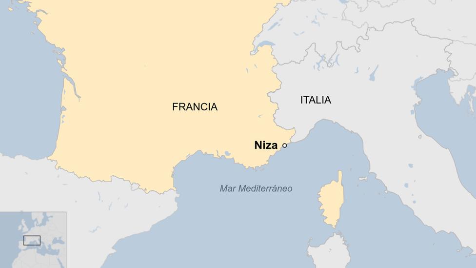 Mapa que muestra la ublicación de Niza