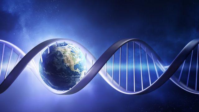 Ilustração coloca planeta Terra dentro de uma cadeia de DNA