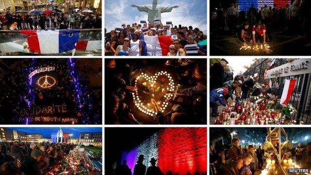 Grid showing images of vigils from around the world
