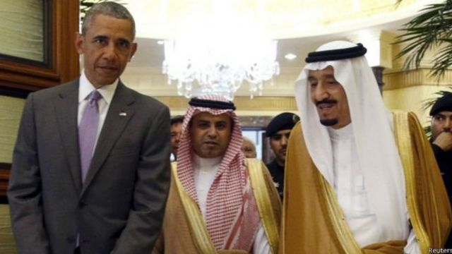 अमरीकी राष्ट्रपति बराक ओबामा और सऊदी के शाह सलमान रियाद