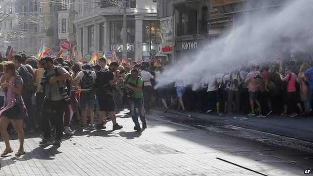 Water cannon fired at marchers