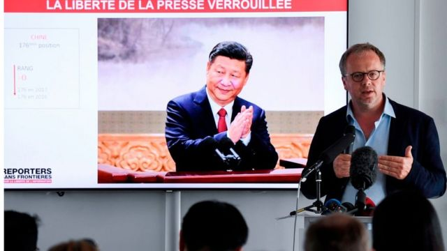 Reporters Without Borders (RSF) General Secretary Christophe Deloire speaks during a press conference to present the watchdog's World Press Freedom Index for 2018