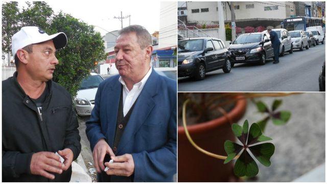 Jair da Silva com Reginaldo Dias, distribuindo cartões no trânsito e o trevo da sorte do professor