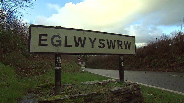 Road sign for Eglwyswrw