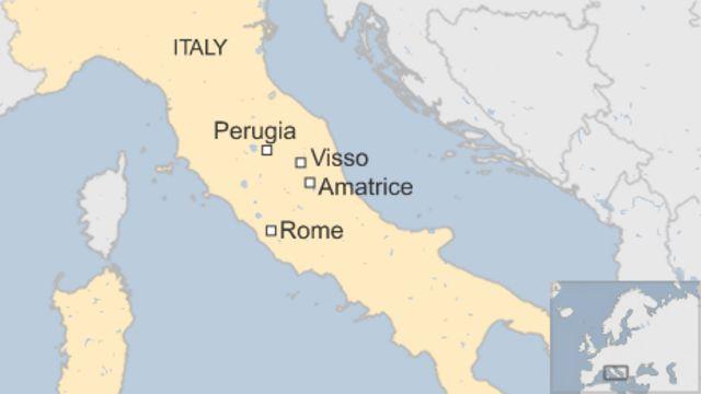 震源に近いビッソ(Visso)と前回大きな被害が生じたアマトリーチェ(Amatrice)の位置