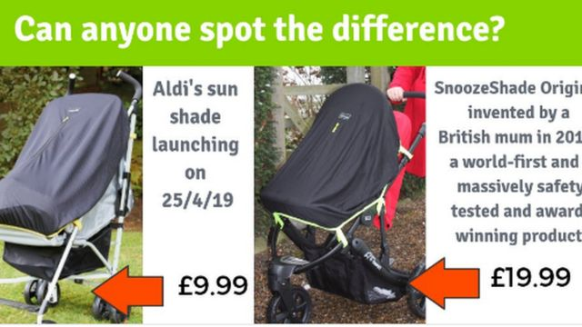 Aldi accused of copying pram shade