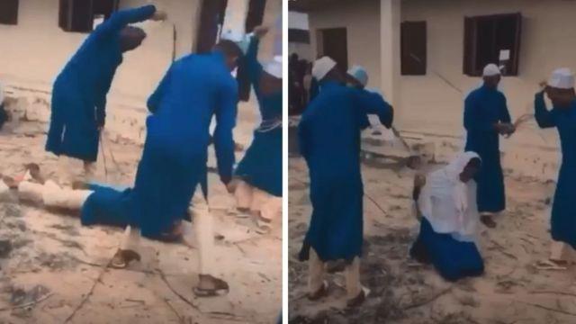 Capture d'écran de la vidéo montrant deux élèves recevant des coups sévères. Un élève est à genoux. L'autre est allongé à plat sur le sol.