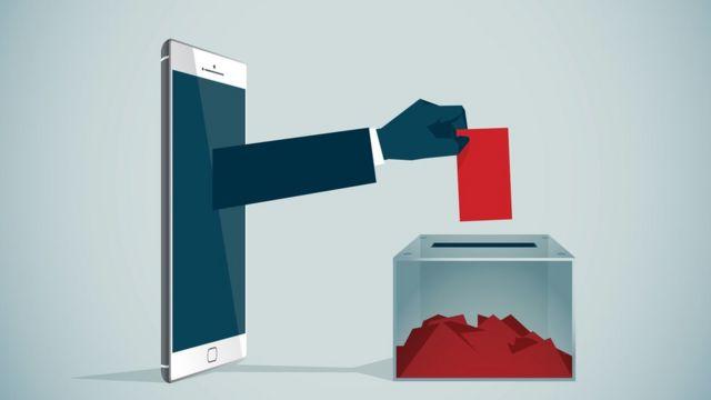 oy kullanan cep telefonu çizimi