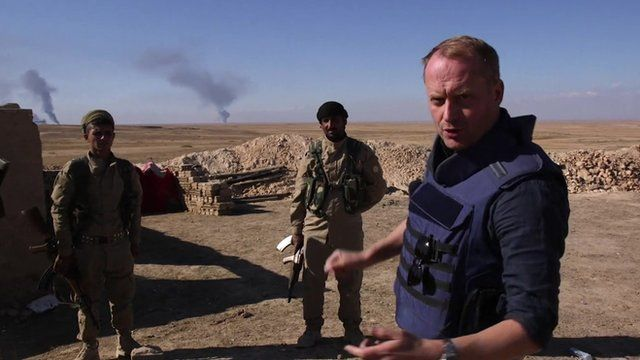 Quentin Sommerville and members of the Syrian Democratic Forces