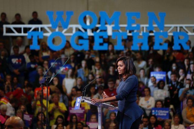 Michelle Obama, la primera dama de Estados Unidos, durante un discurso en Nueva Hampshire este jueves.
