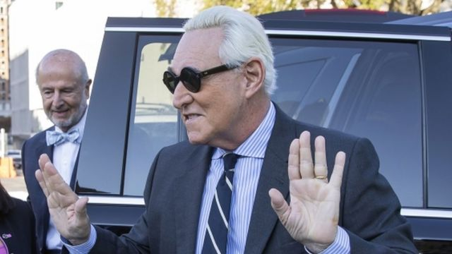 Roger Stone arrives for his trial at DC Federal District Court, 6 November 2019