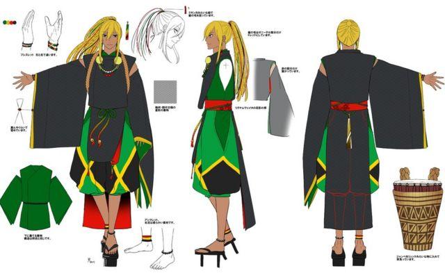 자메이카 캐릭터는 초기 디자인 단계에서 국기 모양을 참조했다