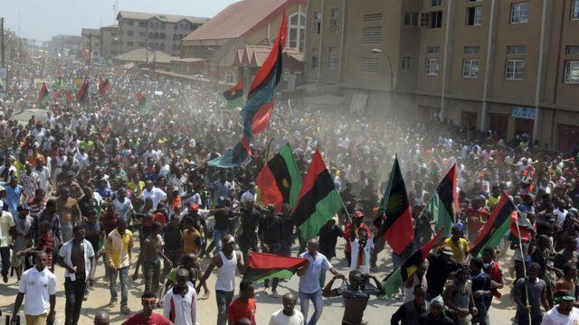 IPOB members with Biafra flag