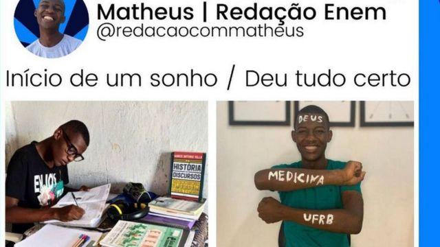 Fotomontagem de Matheus estudando e comemorando a aprovação