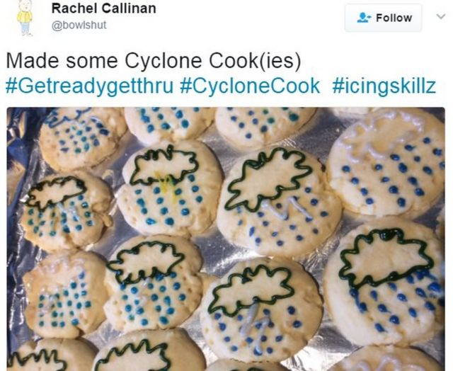 """@bowlshut tweeted: """"Made some Cyclone Cook(ies)"""" with a picture of cookies decorated with storm symbols"""