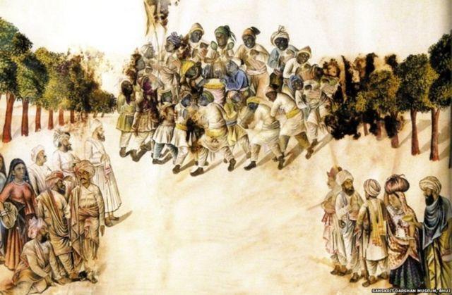 1887નું આ સિદી ધમાલ પેઇન્ટિંગ કચ્છનું છે, જેમાં મુસ્લિમ સિદી લોકોનું નૃત્ય જોવા મળે છે