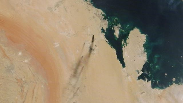 A Nasa satellite image shows smoke from fires following the drone attacks