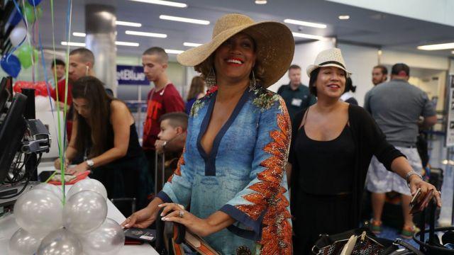 Passengers board their flight to Santa Clara, Cuba.