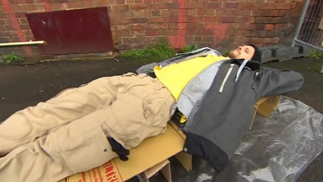 The cardboard bed is tried out at a soup kitchen in Wolverhampton