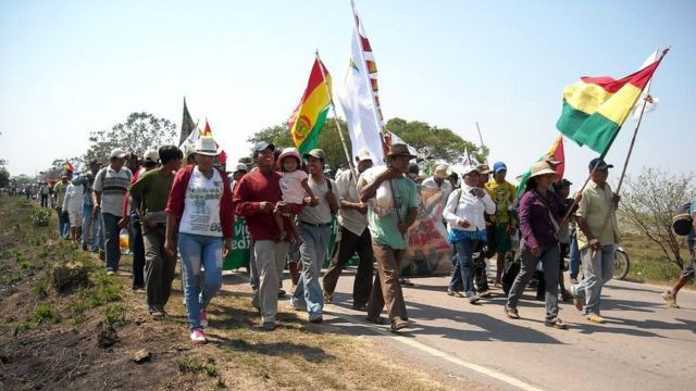 Marcha indígena en su primer día