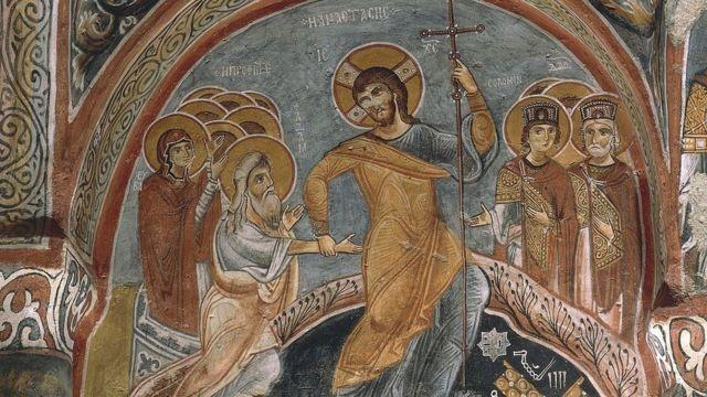 Representación de la resurrección de Jesús hallada en Turquía.
