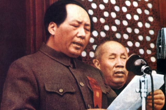 Mao Zedong declares the People's Republic of China in Beijing on 1 Oct 1949