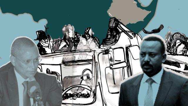 Ilustración que muestra a Debretsion Gebremichael y Abiy Ahmed sobre una imagen de combatientes