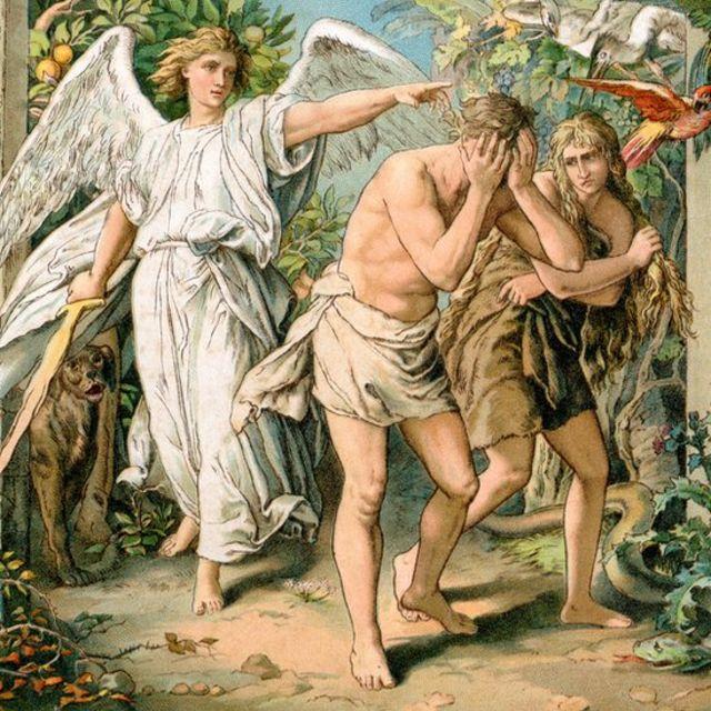 Ilustración de la expulsión de Adán y Eva del paraíso