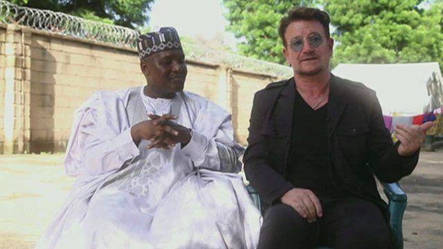 Aliko Dangote (left) and Bono