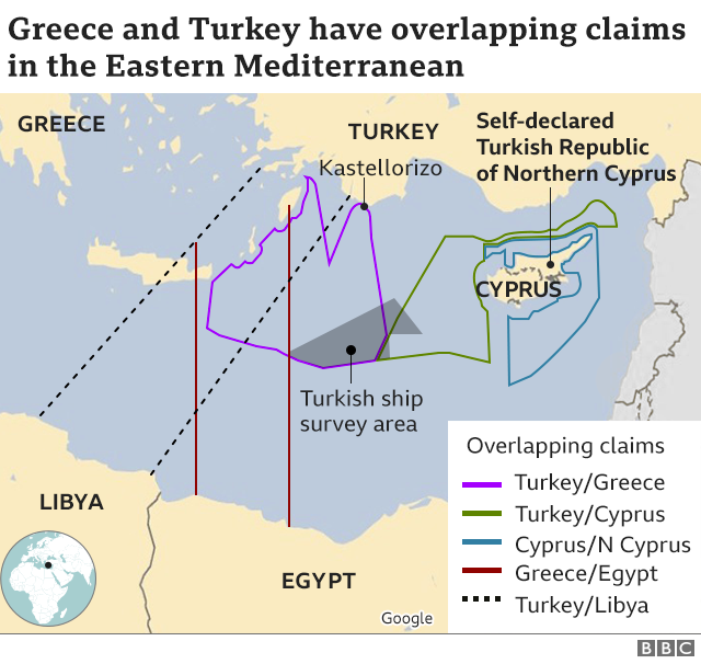 Overlapping claims in the Eastern Mediterranean graphic