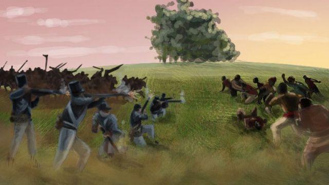 Ilustração do Massacre dos Porongos, pintada pelo artista Thiago Krenning