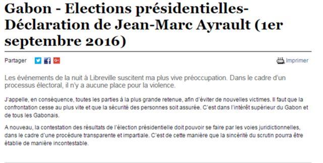 """Jean-Marc Ayrault, le ministre des Affaires étrangères appelle à cesser la confrontation """"au plus vite""""."""