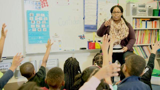 Aula en una escuela de primaria en Estados Unidos
