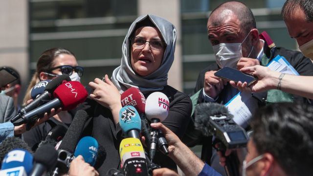 Hatice Cengiz speaks to journalists in Istanbul on 3 July 2020