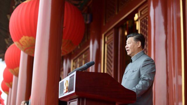 习近平在中共建党100年庆祝活动上。