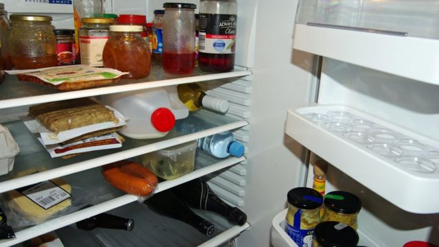 Inside a fridge