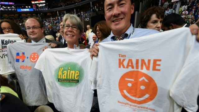 ティム・ケイン副大統領候補を応援する人たち