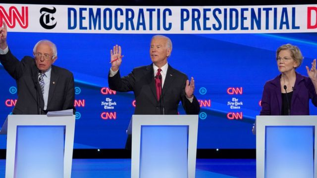 Bernie Sanders, de 78 anos, Joe Biden, de 76, Elizabeth Warren, 70, em debate do Partido Democrata