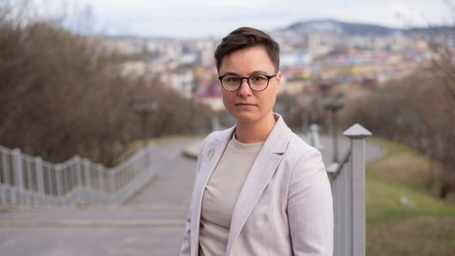 Opposition activist Violetta Grudina poses for a photo in Murmansk, Russia