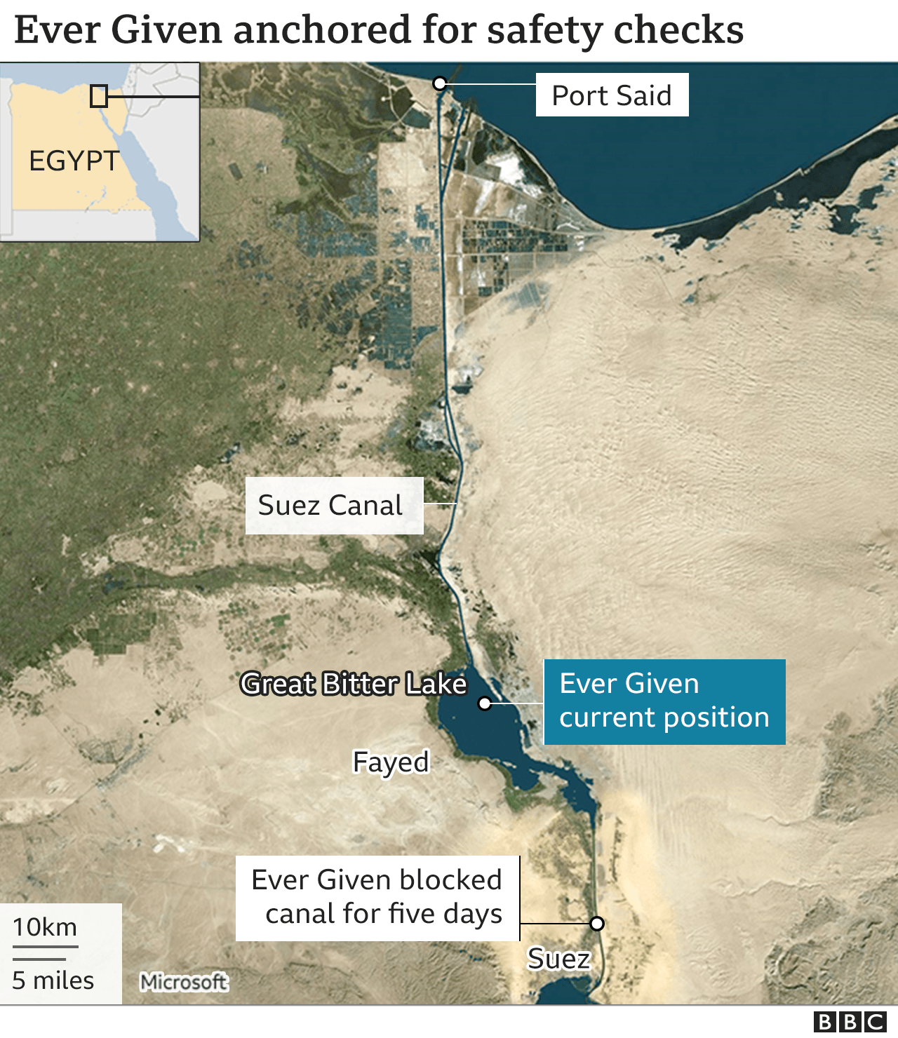 Map showing Suez Canal and location of Ever Given in the Great Bitter Lake (30 March 2021)