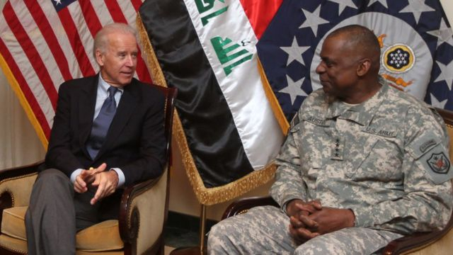Joe Biden (left) and Gen Lloyd Austin in Iraq in 2011