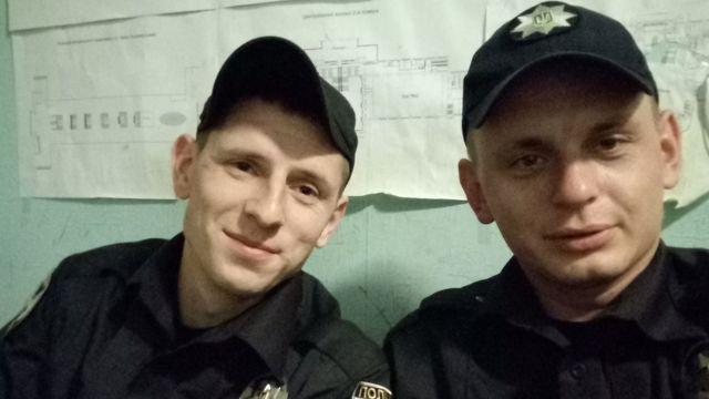 Василий Коряк с другим ветераном АТО Евгением, который также пошел служить в полицию