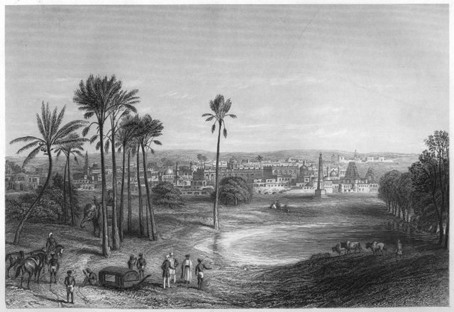 1860ஆம் ஆண்டு வரையப்பட்ட மதராஸ் நகரை குறிக்கும் படம்.